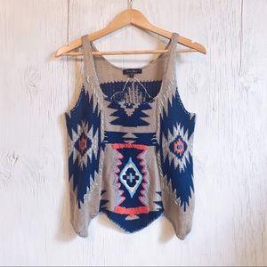 5/20$ Honey Punch Aztec Print Sweater Tank